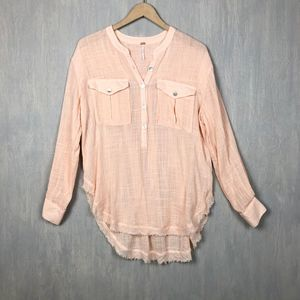 Free People lightweight peach popover tunic top S